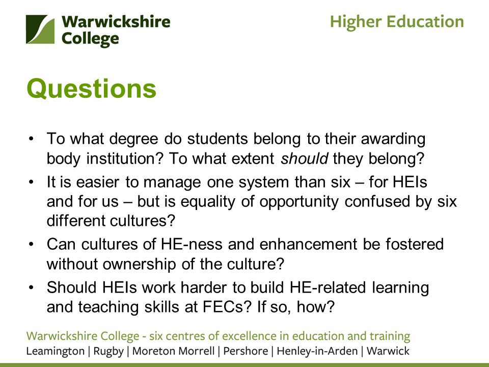 Questions To what degree do students belong to their awarding body institution.