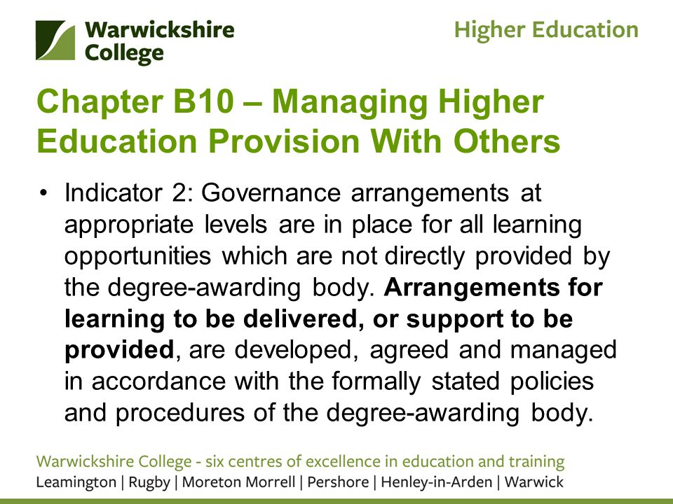 Chapter B10 – Managing Higher Education Provision With Others Indicator 2: Governance arrangements at appropriate levels are in place for all learning opportunities which are not directly provided by the degree-awarding body.