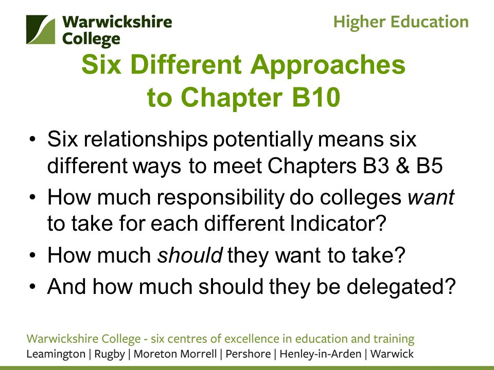 Six Different Approaches to Chapter B10 Six relationships potentially means six different ways to meet Chapters B3 & B5 How much responsibility do col