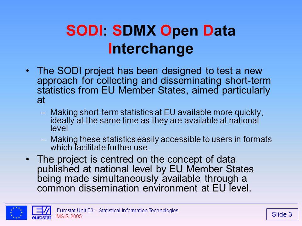 Slide 3 Eurostat Unit B3 – Statistical Information Technologies MSIS 2005 SODI: SDMX Open Data Interchange The SODI project has been designed to test
