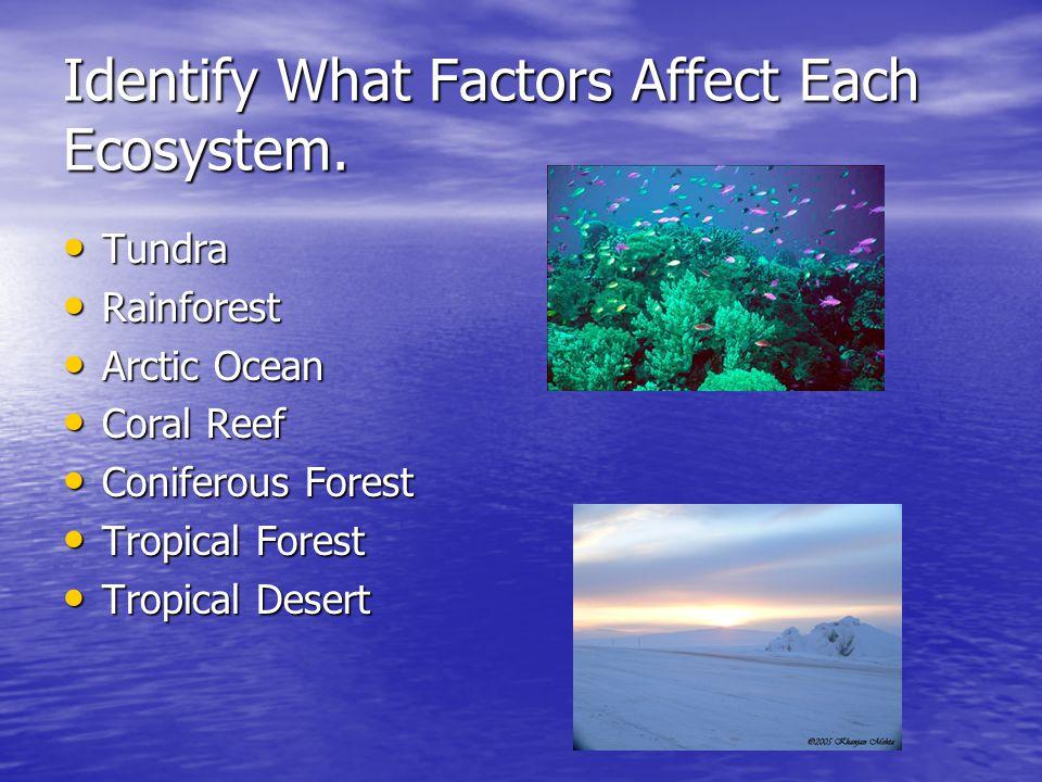 Identify What Factors Affect Each Ecosystem. Tundra Tundra Rainforest Rainforest Arctic Ocean Arctic Ocean Coral Reef Coral Reef Coniferous Forest Con