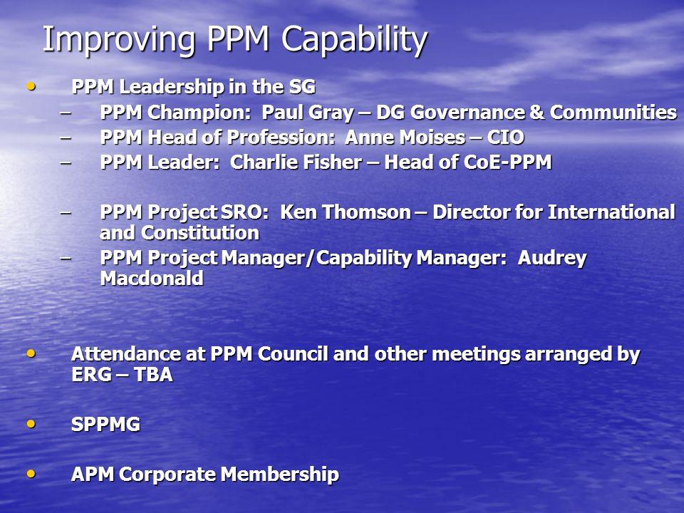Improving PPM Capability PPM Leadership in the SG PPM Leadership in the SG –PPM Champion: Paul Gray – DG Governance & Communities –PPM Head of Profess