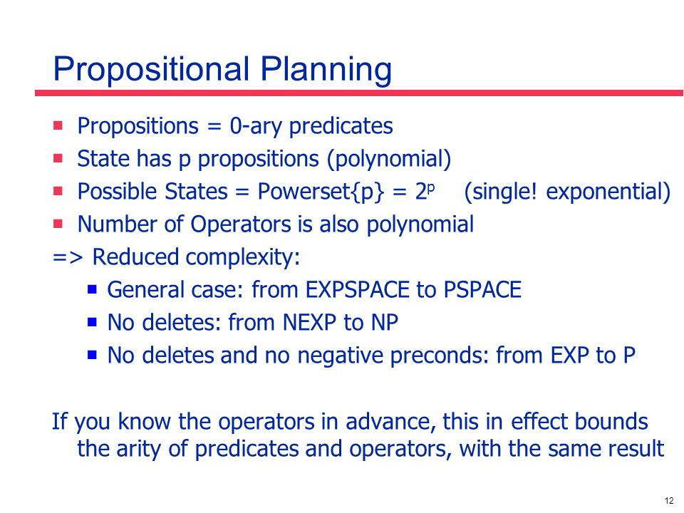 12 Propositional Planning  Propositions = 0-ary predicates  State has p propositions (polynomial)  Possible States = Powerset{p} = 2 p (single! exp