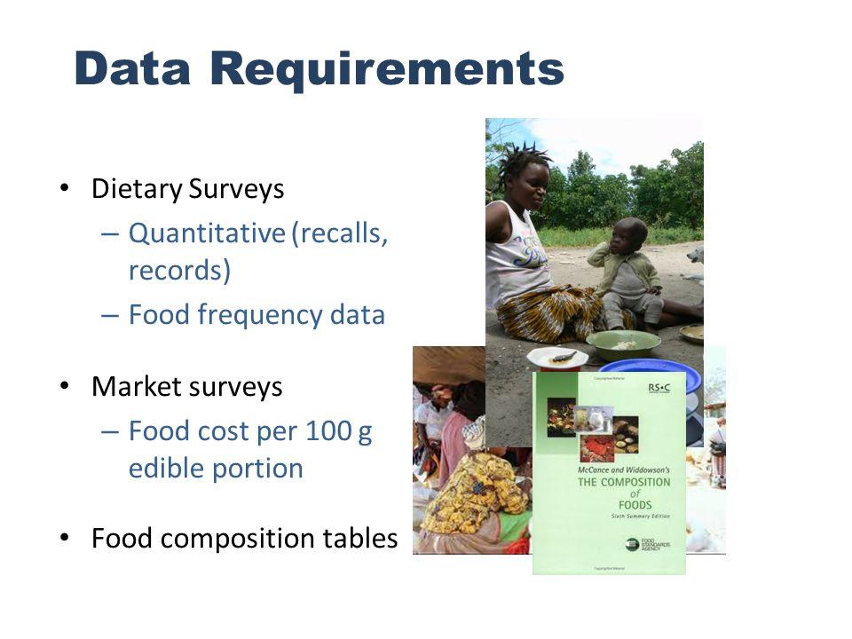 Data Requirements Dietary Surveys – Quantitative (recalls, records) – Food frequency data Market surveys – Food cost per 100 g edible portion Food com