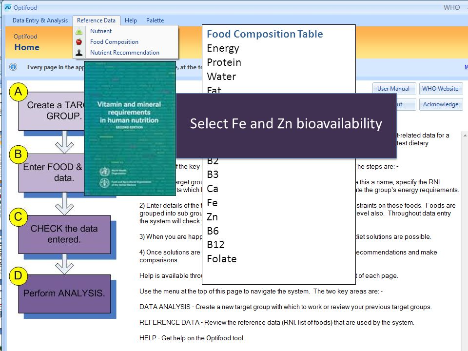 Food Composition Table Energy Protein Water Fat Carbohydrate Vitamin A Vitamin C B1 B2 B3 Ca Fe Zn B6 B12 Folate Select Fe and Zn bioavailability
