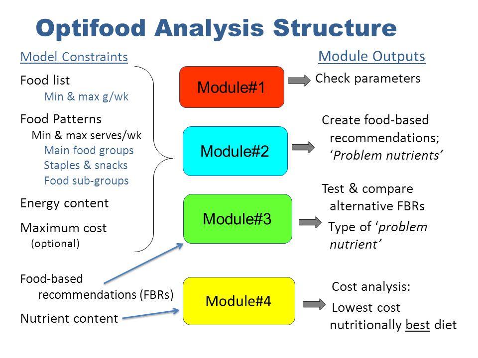 Optifood Analysis Structure Model Constraints Food list Min & max g/wk Food Patterns Min & max serves/wk Main food groups Staples & snacks Food sub-gr