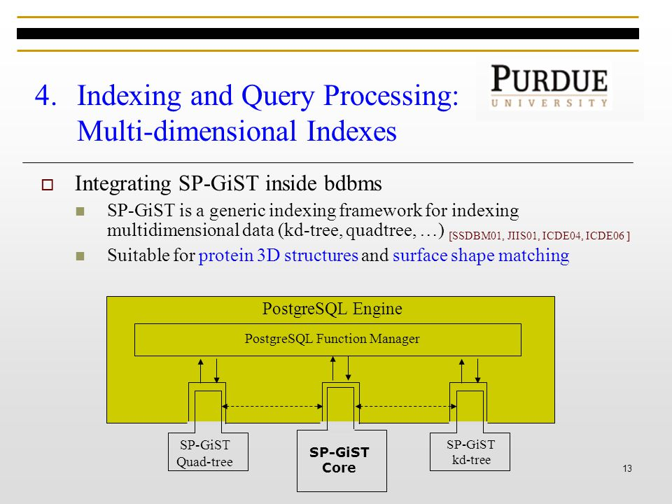 13 4.Indexing and Query Processing: Multi-dimensional Indexes  Integrating SP-GiST inside bdbms SP-GiST is a generic indexing framework for indexing multidimensional data (kd-tree, quadtree, …) [SSDBM01, JIIS01, ICDE04, ICDE06 ] Suitable for protein 3D structures and surface shape matching PostgreSQL Function Manager PostgreSQL Engine SP-GiST Core SP-GiST kd-tree SP-GiST Quad-tree