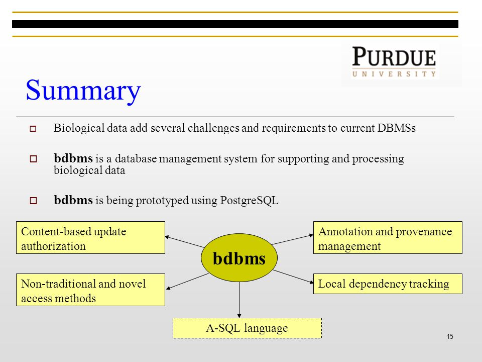 15 Summary  Biological data add several challenges and requirements to current DBMSs  bdbms is a database management system for supporting and processing biological data  bdbms is being prototyped using PostgreSQL bdbms Annotation and provenance management Local dependency tracking Content-based update authorization Non-traditional and novel access methods A-SQL language