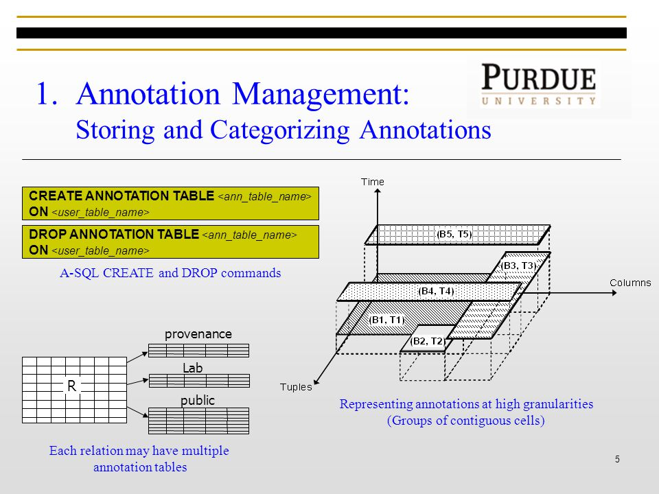 5 1.Annotation Management: Storing and Categorizing Annotations Lab public R CREATE ANNOTATION TABLE ON DROP ANNOTATION TABLE ON A-SQL CREATE and DROP commands Each relation may have multiple annotation tables Representing annotations at high granularities (Groups of contiguous cells) provenance