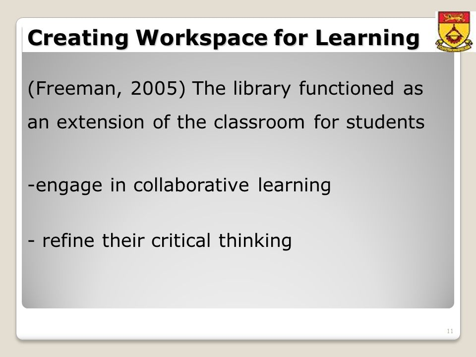 11 Creating Workspace for Learning (Freeman, 2005) The library functioned as an extension of the classroom for students -engage in collaborative learning - refine their critical thinking