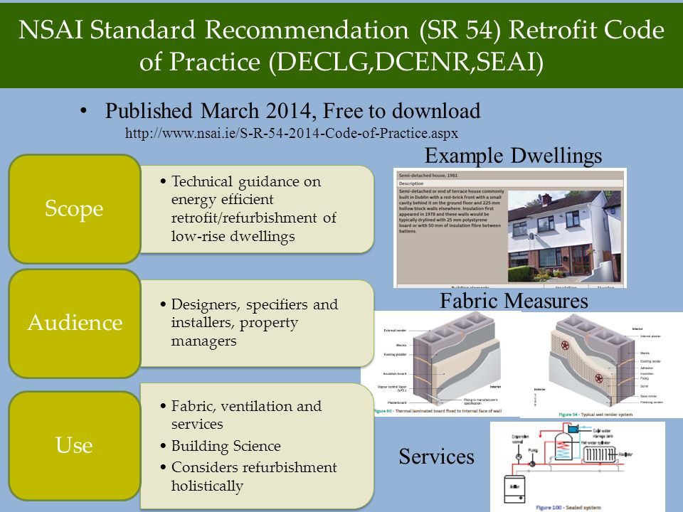 Technical guidance on energy efficient retrofit/refurbishment of low-rise dwellings Scope Designers, specifiers and installers, property managers Audience Fabric, ventilation and services Building Science Considers refurbishment holistically Use NSAI Standard Recommendation (SR 54) Retrofit Code of Practice (DECLG,DCENR,SEAI) Published March 2014, Free to download http://www.nsai.ie/S-R-54-2014-Code-of-Practice.aspx Example Dwellings Fabric Measures Services