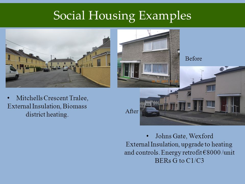 Social Housing Examples Mitchells Crescent Tralee, External Insulation, Biomass district heating.