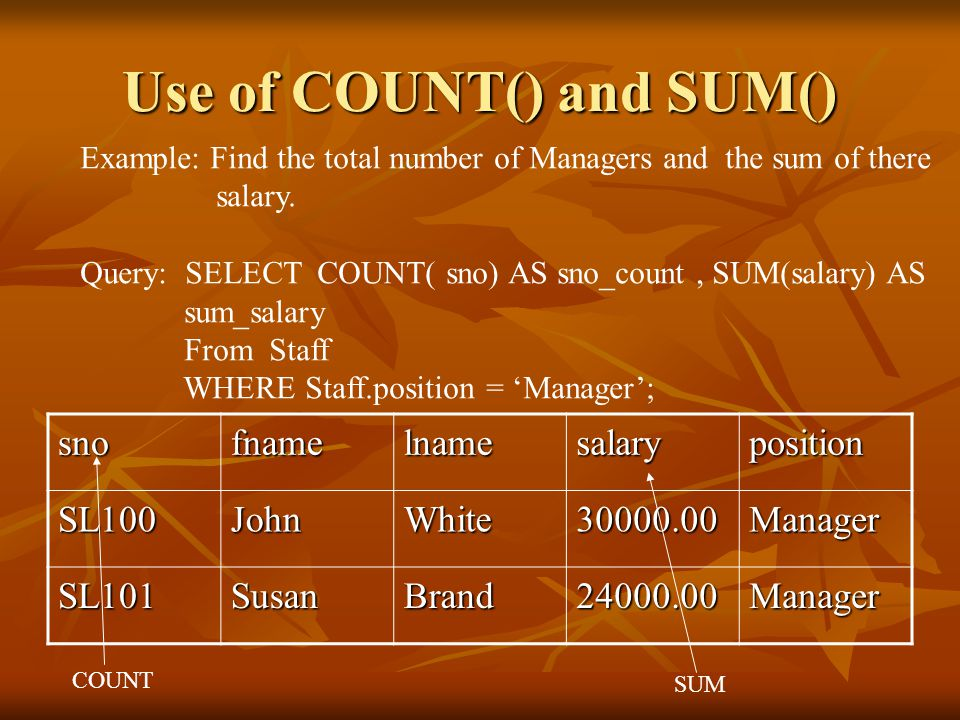 Use of COUNT() and SUM() Example: Find the total number of Managers and the sum of there salary.