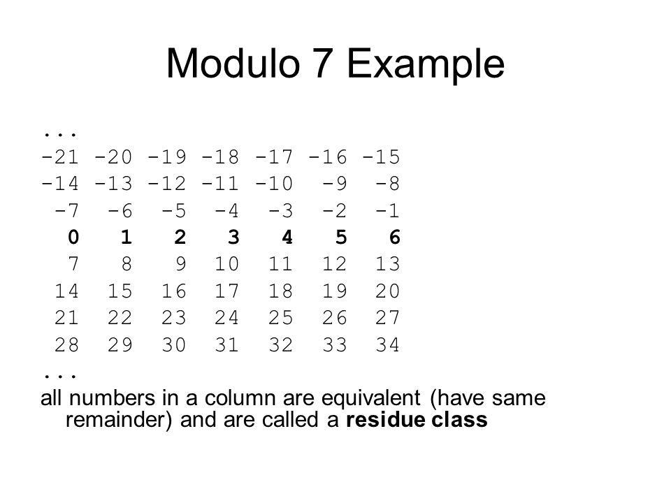 Modulo 7 Example...