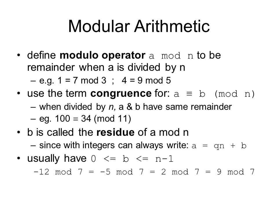 Computational Considerations since coefficients are 0 or 1, can represent any such polynomial as a bit string addition becomes XOR of these bit strings multiplication is shift & XOR –Example in P.133 modulo reduction done by repeatedly substituting highest power with remainder of irreducible poly (also shift & XOR)