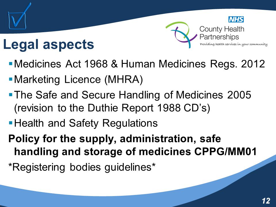 12 Legal aspects  Medicines Act 1968 & Human Medicines Regs.