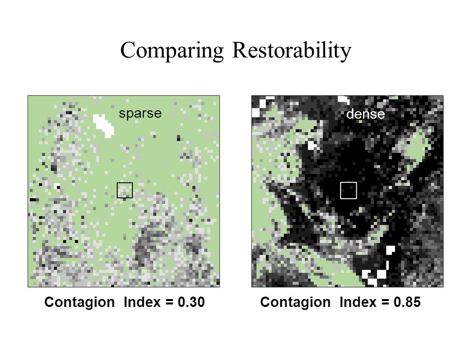 Comparing Restorability Contagion Index = 0.30Contagion Index = 0.85 sparse dense