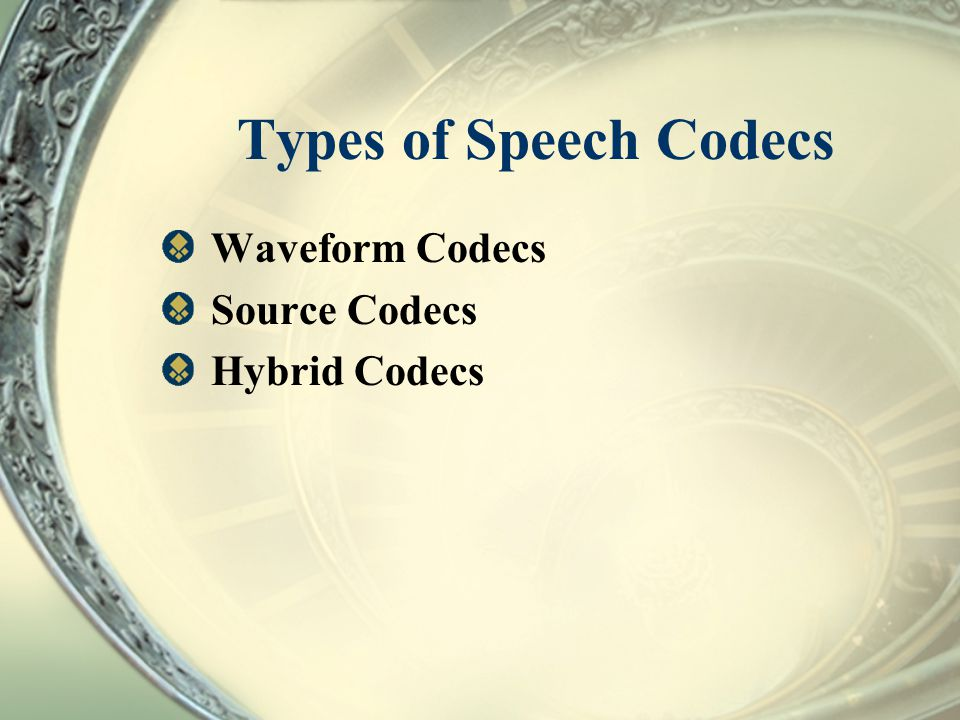 Types of Speech Codecs Waveform Codecs Source Codecs Hybrid Codecs