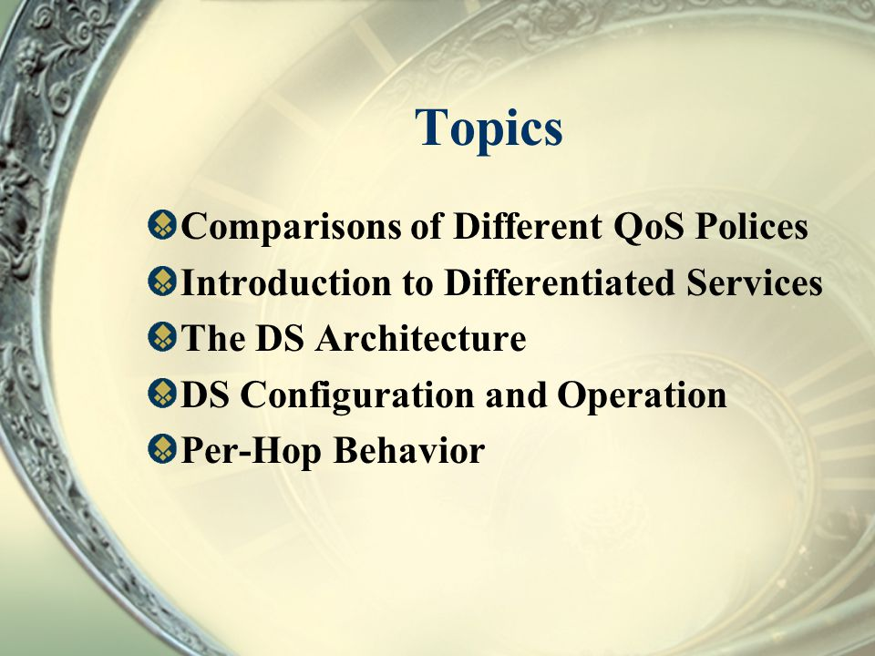 Topics Comparisons of Different QoS Polices Introduction to Differentiated Services The DS Architecture DS Configuration and Operation Per-Hop Behavio