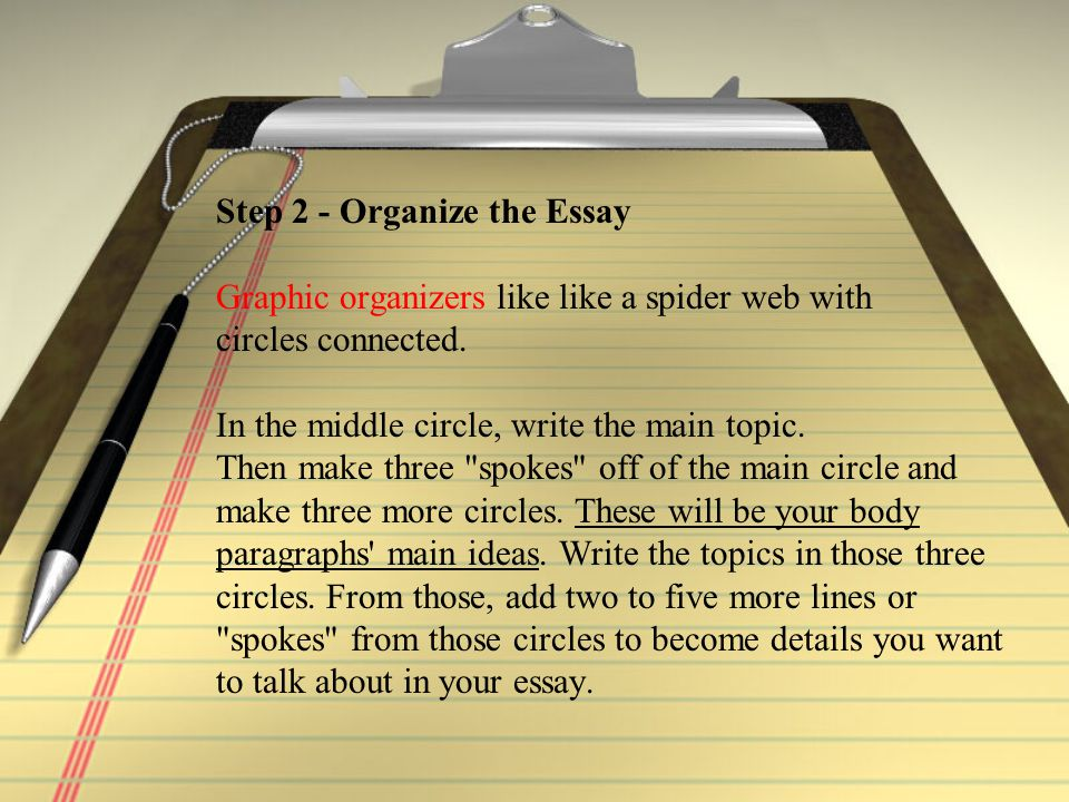 Step 2 - Organize the Essay Graphic organizers like like a spider web with circles connected.