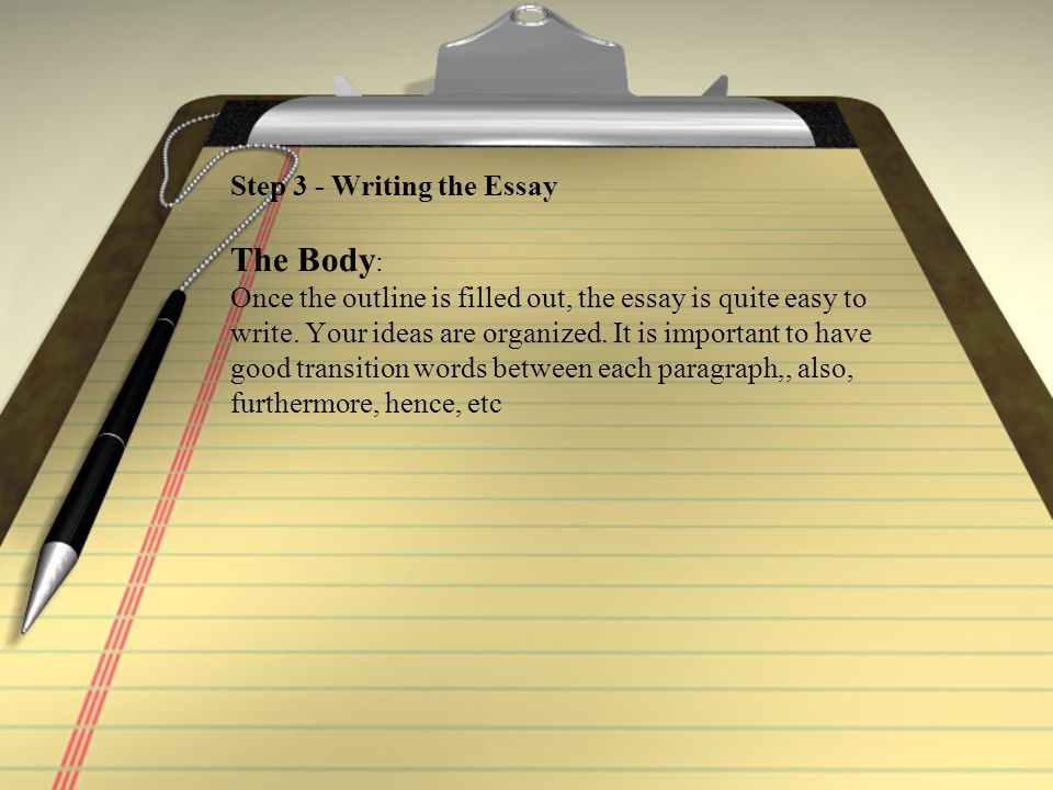 Step 3 - Writing the Essay The Body : Once the outline is filled out, the essay is quite easy to write.