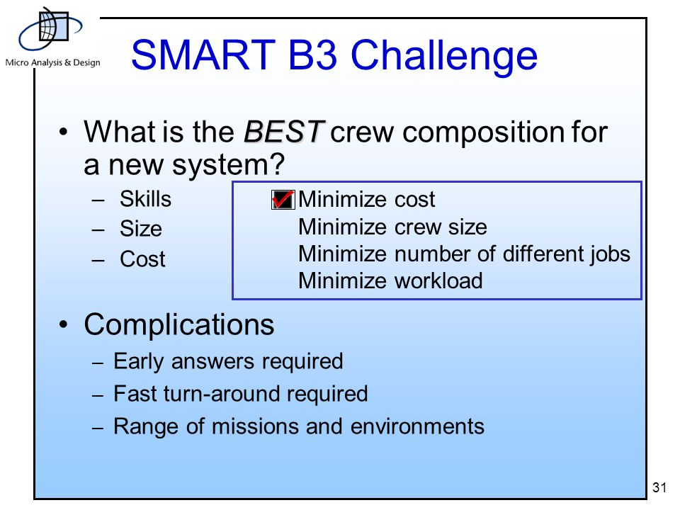 31 SMART B3 Challenge BESTWhat is the BEST crew composition for a new system.
