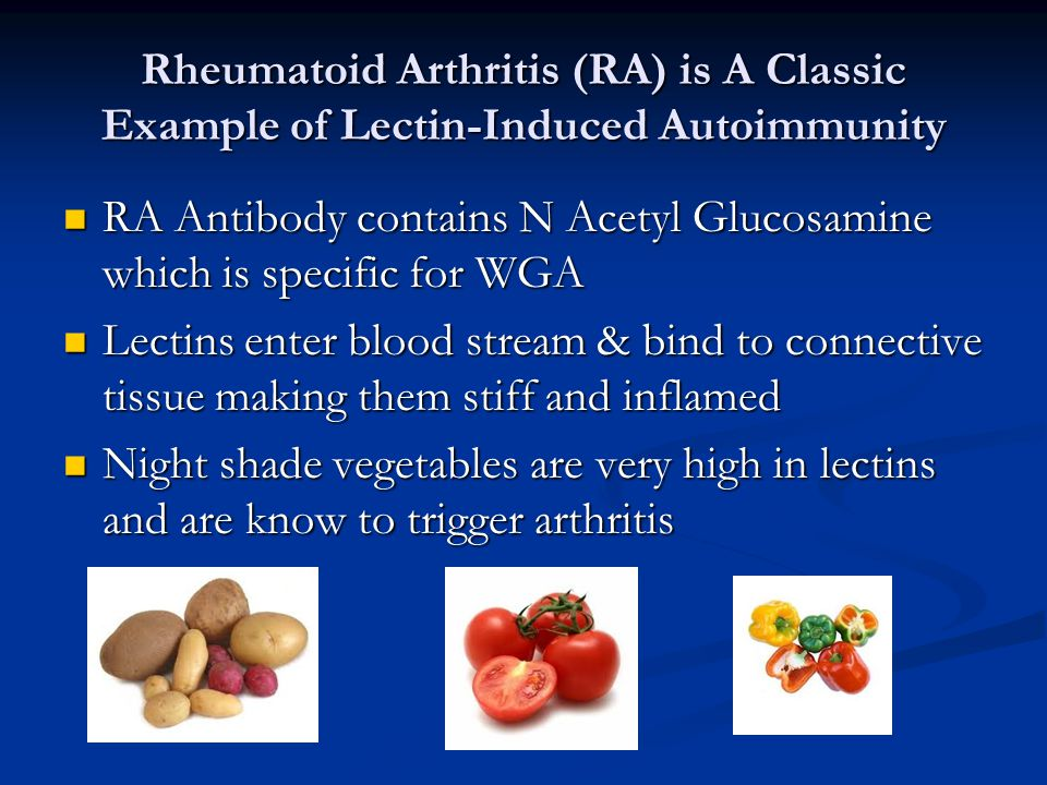 Rheumatoid Arthritis (RA) is A Classic Example of Lectin-Induced Autoimmunity RA Antibody contains N Acetyl Glucosamine which is specific for WGA RA Antibody contains N Acetyl Glucosamine which is specific for WGA Lectins enter blood stream & bind to connective tissue making them stiff and inflamed Lectins enter blood stream & bind to connective tissue making them stiff and inflamed Night shade vegetables are very high in lectins and are know to trigger arthritis Night shade vegetables are very high in lectins and are know to trigger arthritis