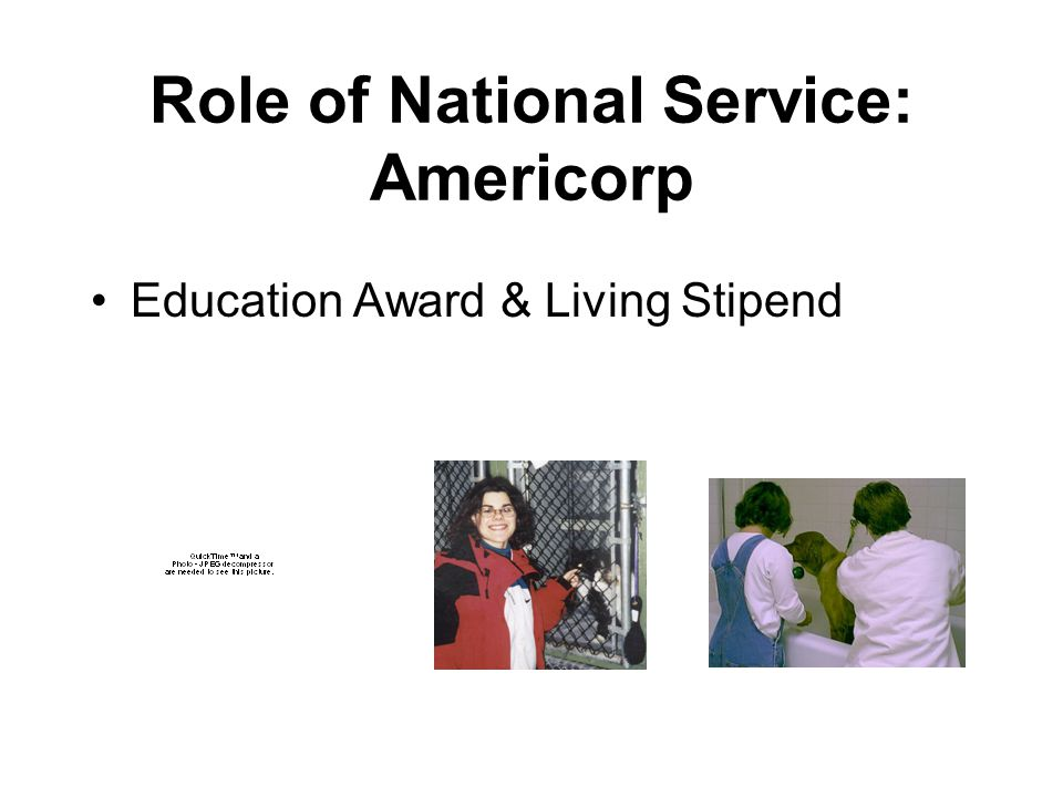 Role of National Service Students who are more engaged in learning are more likely to stay in school Students who have the opportunity to participate in national service develop skills, expand their social networks, and start to develop a career path Students with disabilities have the opportunity to give back rather than always being the recipient