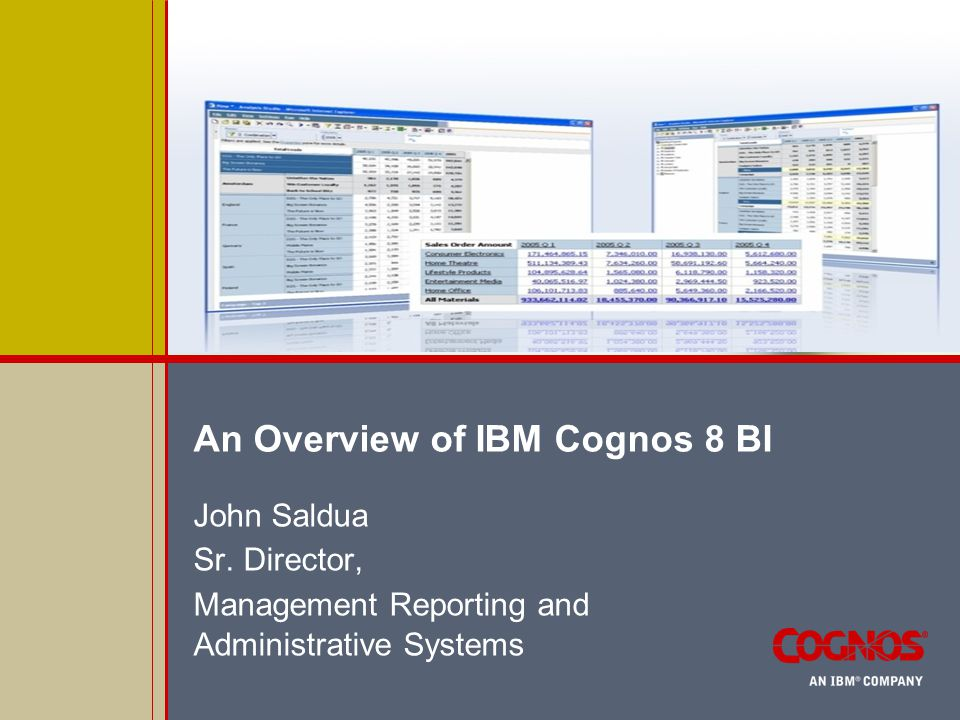 IBM 8 Cognos BI Demonstration  Report using Cognos 8 BI Analysis Studio  Dimensional Data  Data Cube  Dimensionally Modeled Relational Data (DMR)  Sample Data  Budget Balance  Available by unit  For end of FY 0708  Points of Emphasis  Ease of use  Drillable capability  Charting options
