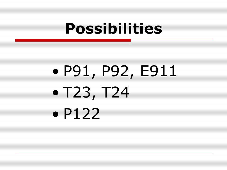 Possibilities P91, P92, E911 T23, T24 P122