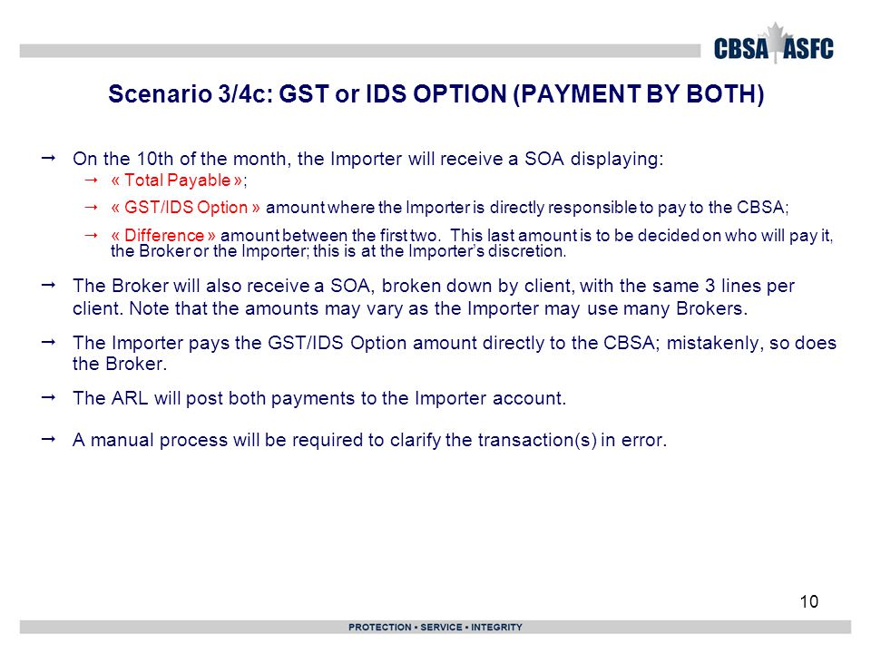 10 Scenario 3/4c: GST or IDS OPTION (PAYMENT BY BOTH)  On the 10th of the month, the Importer will receive a SOA displaying:  « Total Payable »;  «