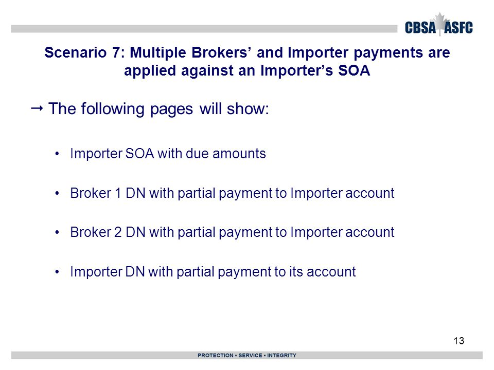 Scenario 7: Multiple Brokers' and Importer payments are applied against an Importer's SOA 13  The following pages will show: Importer SOA with due am