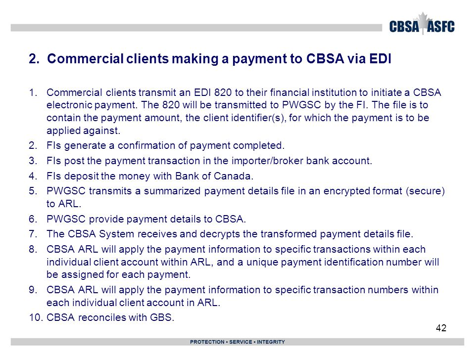 2. Commercial clients making a payment to CBSA via EDI 1.Commercial clients transmit an EDI 820 to their financial institution to initiate a CBSA elec