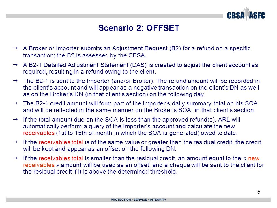 Scenario 10: SOA & DN for Importer where there is a residual credit greater & smaller than the threshold ($1,000)  The following pages will show: Importer SOA with a residual credit greater than threshold.