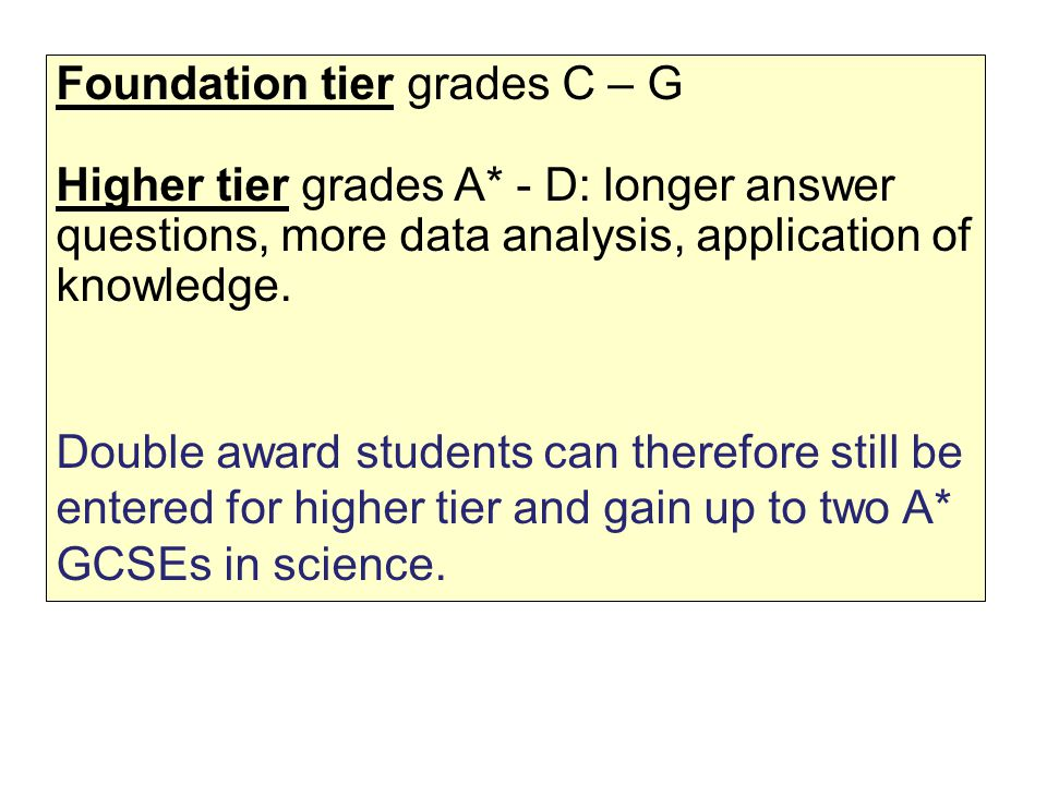 Foundation tier grades C – G Higher tier grades A* - D: longer answer questions, more data analysis, application of knowledge.