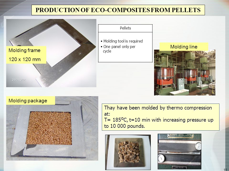 11 PRODUCTION OF ECO-COMPOSITES FROM PELLETS Molding frame 120 x 120 mm Molding package Pellets Molding tool is required One panel only per cycle Molding line Thay have been molded by thermo compression at: T= 185 o C, t=10 min with increasing pressure up to 10 000 pounds.