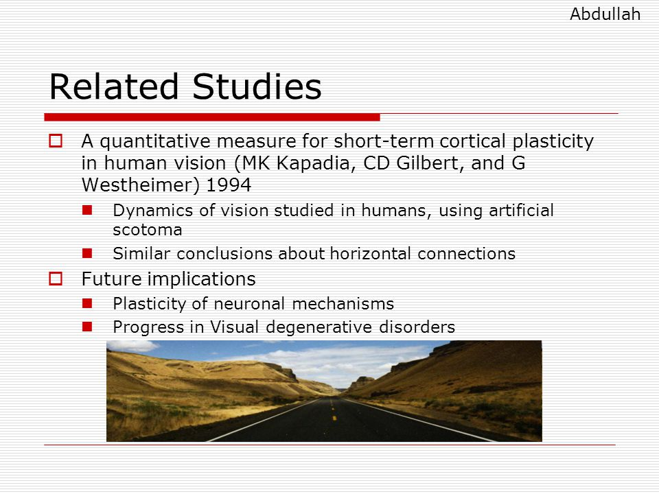 Related Studies  A quantitative measure for short-term cortical plasticity in human vision (MK Kapadia, CD Gilbert, and G Westheimer) 1994 Dynamics of vision studied in humans, using artificial scotoma Similar conclusions about horizontal connections  Future implications Plasticity of neuronal mechanisms Progress in Visual degenerative disorders Abdullah