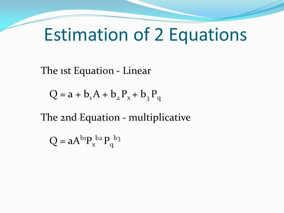 Estimation of 2 Equations The 1st Equation - Linear Q = a + b 1 A + b 2 P x + b 3 P q The 2nd Equation - multiplicative Q = aA b1 P x b2 P q b3