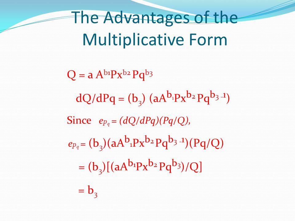 The Advantages of the Multiplicative Form Q = a A b1 Px b2 Pq b3 dQ/dPq = (b 3 ) (aA b 1 Px b 2 Pq b 3 - 1 ) Since e p q = (dQ/dPq)(Pq/Q), e p q = (b
