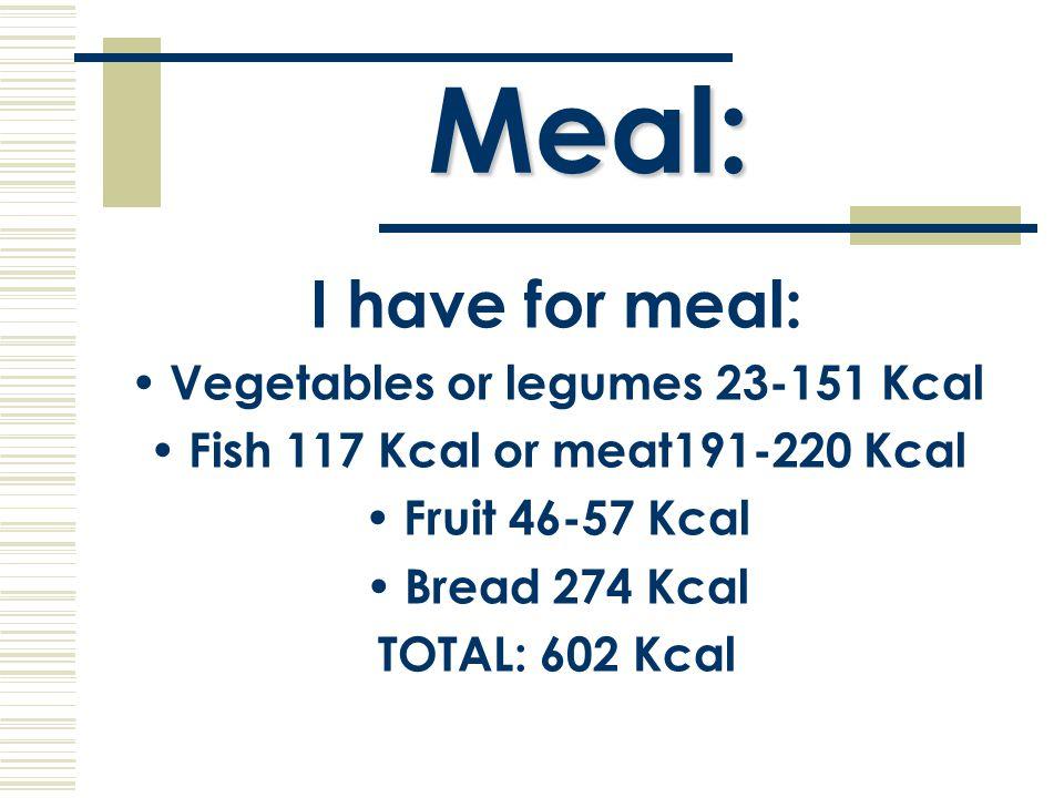 Dinner: I have for dinner: Fish 117 Kcal or meat 191-220 Kcal Hamburger 191 Kcal Pizza 255 Kcal Milk 64 Kcal Bread 274 Kcal TOTAL: 525 KcaL