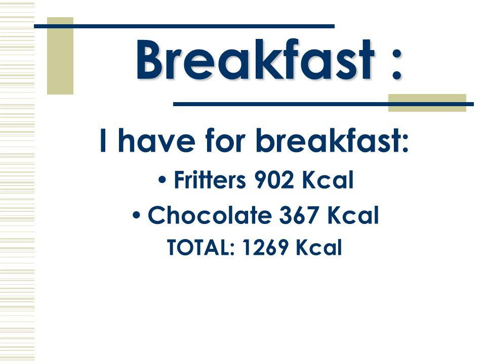 Meal:  Spaghetti 131 Kcal  Roast chicken 232 Kcal  Meat 225 Kcal  Ice-cream 65 Kcal  Bread 274 Kcal  Natural yogurt 61 Kcal TOTAL: 745 Kcal