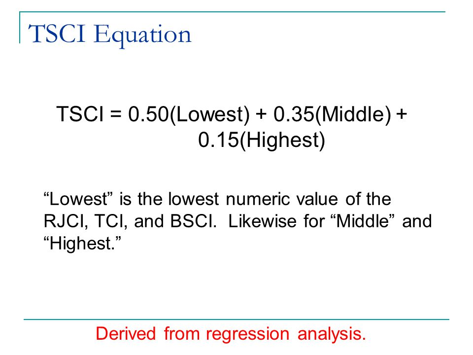 TSCI Equation TSCI = 0.50(Lowest) + 0.35(Middle) + 0.15(Highest) Lowest is the lowest numeric value of the RJCI, TCI, and BSCI.