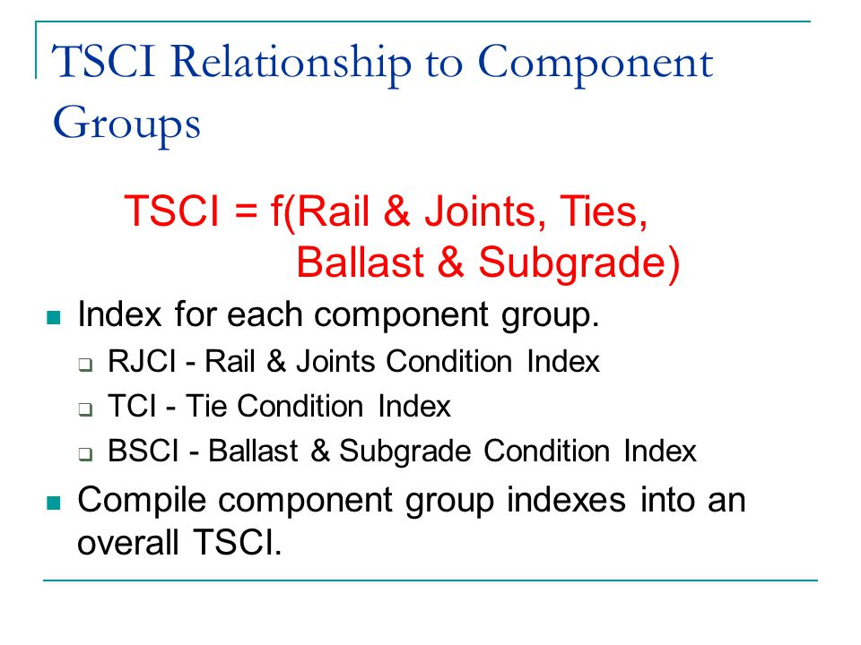 TSCI Relationship to Component Groups Index for each component group.  RJCI - Rail & Joints Condition Index  TCI - Tie Condition Index  BSCI - Ball