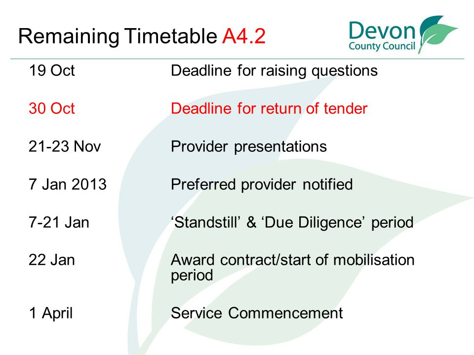 Remaining Timetable A4.2 19 OctDeadline for raising questions 30 Oct Deadline for return of tender 21-23 NovProvider presentations 7 Jan 2013 Preferre