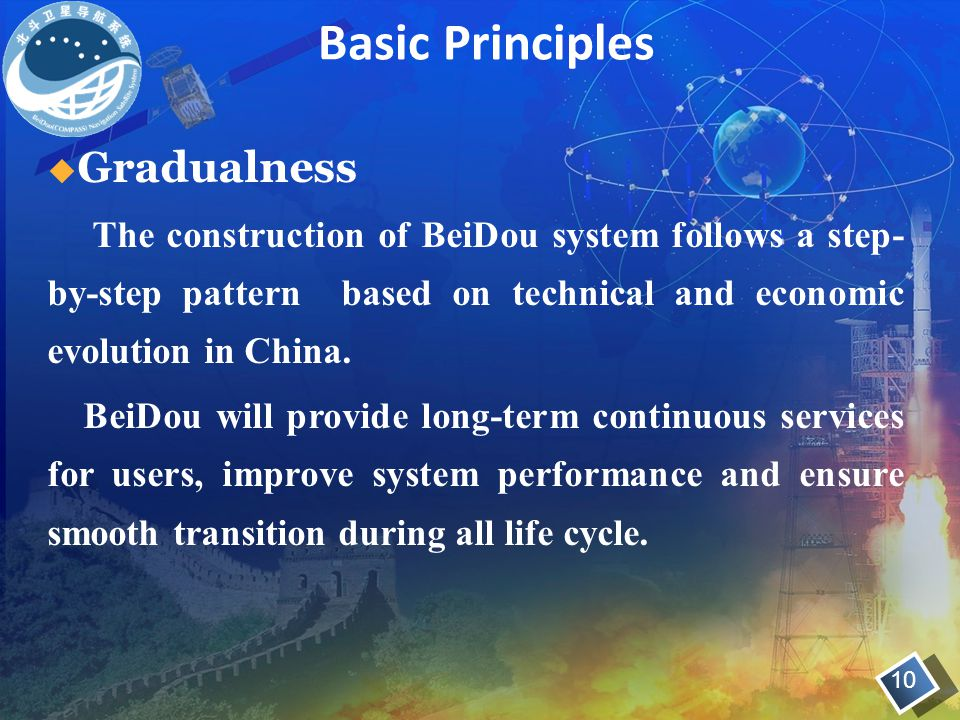 Basic Principles 10  Gradualness The construction of BeiDou system follows a step- by-step pattern based on technical and economic evolution in China.