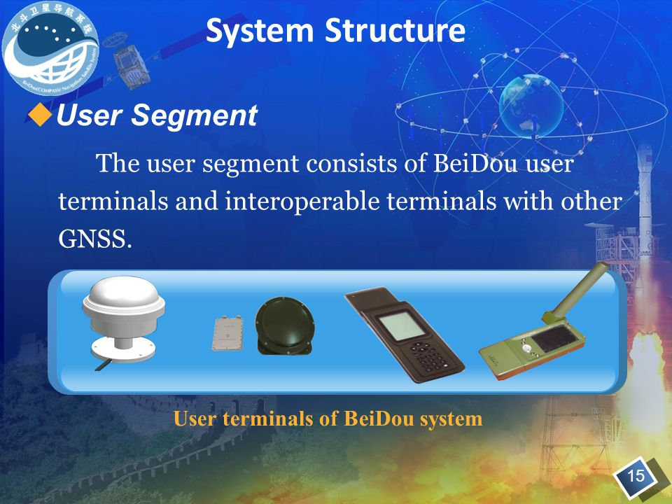 The user segment consists of BeiDou user terminals and interoperable terminals with other GNSS.
