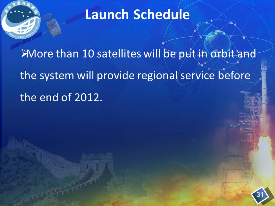 Launch Schedule 31  More than 10 satellites will be put in orbit and the system will provide regional service before the end of 2012.