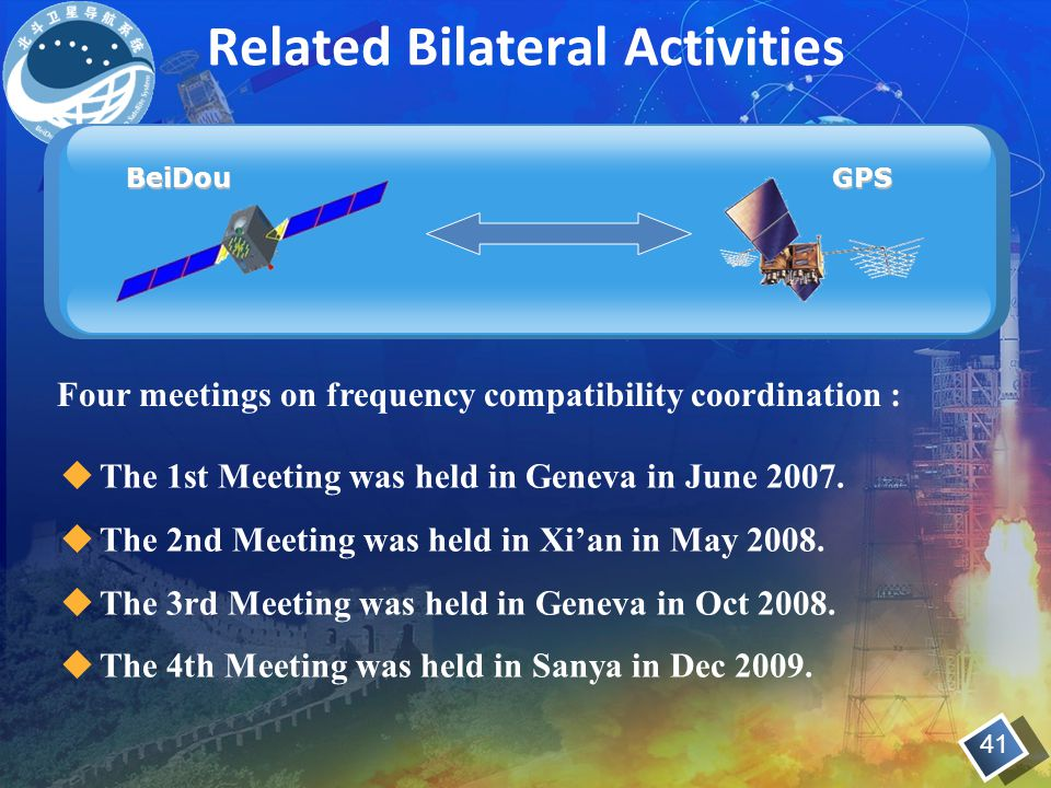 Related Bilateral Activities BeiDouGPS  The 1st Meeting was held in Geneva in June 2007.  The 2nd Meeting was held in Xi'an in May 2008.  The 3rd M