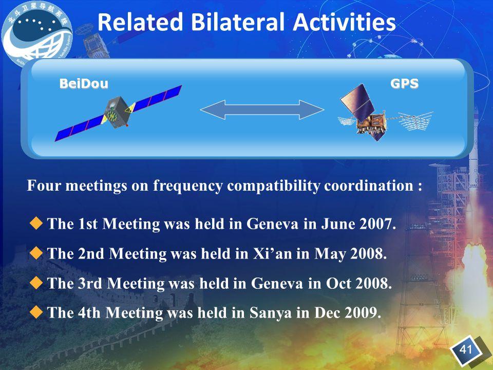 Related Bilateral Activities BeiDouGPS  The 1st Meeting was held in Geneva in June 2007.
