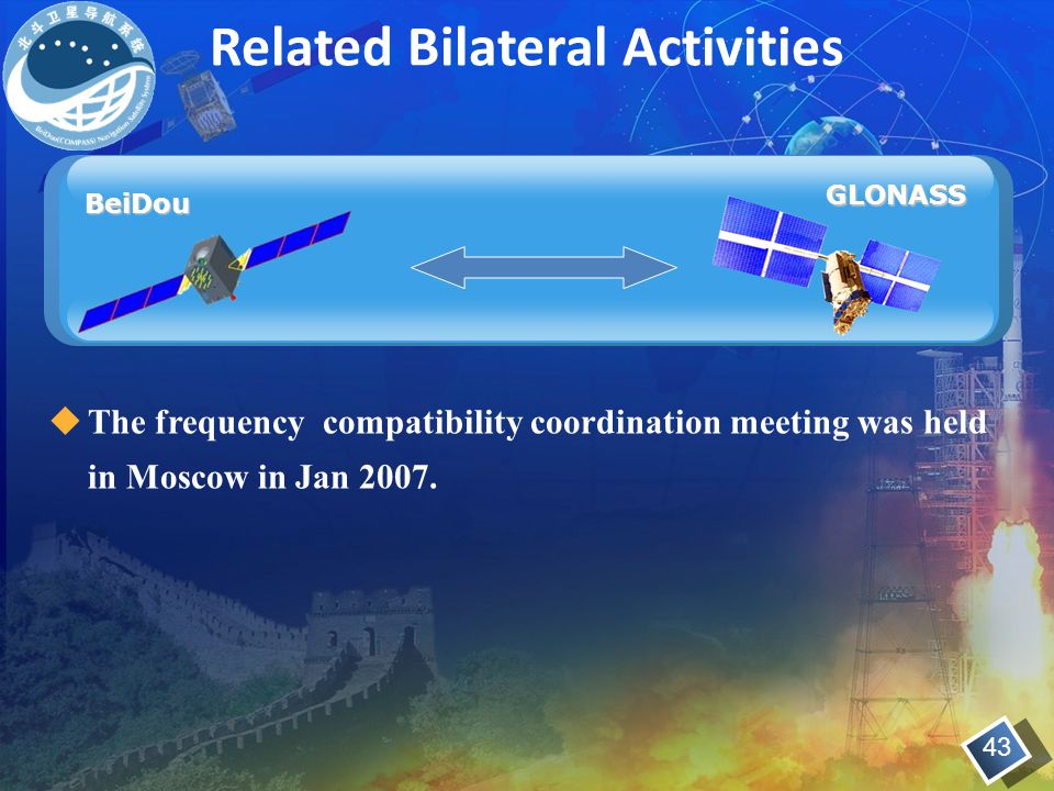  The frequency compatibility coordination meeting was held in Moscow in Jan 2007. GLONASS BeiDou Related Bilateral Activities 43